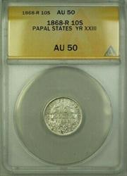 1868-R Papal States Year XXIII 10 Soldi Coin ANACS