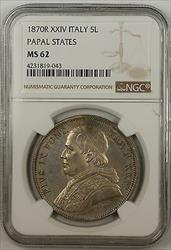 1870-R XXIV Italy 5 Lire Silver Coin Papal States NGC