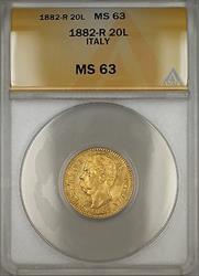 1882-R (Rome) Italy 20L Lire Gold Coin ANACS  Choice BU SB