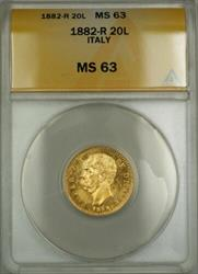 1882-R Italy 20L Lire Gold Coin ANACS