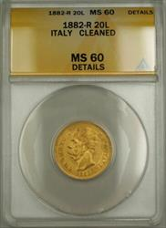 1882-R Italy 20L Lire Gold Coin ANACS  Details Cleaned