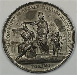 1884 Italy Turin Torino World Expo Medal Struck in White Metal JA
