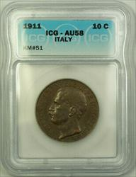 1911 Italy Copper 10 Centesimi ICG  KM#51