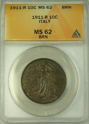 1911-R Italy 10 Centesimi Coin ANACS  Brown