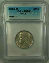 1919-R Italy Nickel 50 Centesimi ICG  KM#61.1