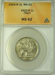 1922-R Italy 1 Lira Coin ANACS
