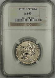 1923-R Italy 1 Lira Coin NGC  Choice BU *Scarce Condition* JA