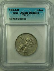 1924-R Italy Nickel 1 Lira Coin ICG  Details Cleaned KM#62