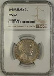 1925R Italy 2L Two Lire Coin NGC