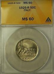 1925-R Italy 50 Centesimi Coin ANACS  Rome (Better Coin)