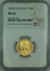1937 R XVI Italy 100 Lire Gold Coin *RARE* (249 Mintage) NGC  KM# 84