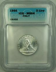 1950 Italy Aluminum 2 Lire Coin ICG  KM#88