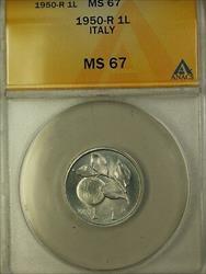 1950-R Italy 1 Lira Coin ANACS  Rome