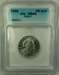 1956 Italy Steel 50 Lire Coin ICG  KM#95.1