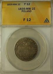 1835-MW Poland 2 Zloty Silver Coin ANACS