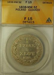 1838-MW Poland 5 Zloty Silver Coin ANACS  Details Cleaned