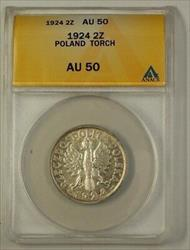 1924 Poland Two Zlote Silver Coin 2Z Torch ANACS
