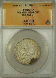 1936 Poland Seaport Silver 5 Zatotych Coin ANACS  Cleaned Details