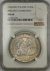 1966-MW Poland Mieszko I Dabrowka 100 Zlotych Silver Coin NGC  Very Choice