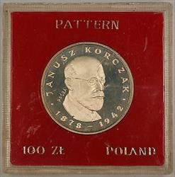 1978 100 Zloty Polish Silver Proof Commemorative Korczak Coin