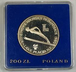 1980 200 Zloty Poland Silver Proof Commemorative Olympic Lake Placid Ski Jump