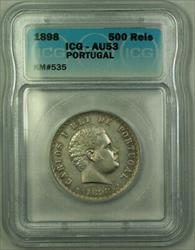 1898 Portugal Carlos I Silver 500 Reis Coin ICG  KM#535