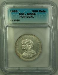 1898 Portugal Silver 500 Reis Coin ICG  KM#538
