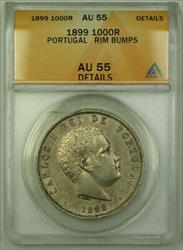 1899 Portugal 1000 Reis Silver Coin ANACS  Details RJS