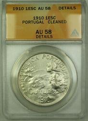 1910 Portugal 1 Escudo KM# 560 Silver Coin ANACS  Details RJS
