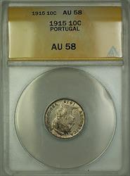 1915 Portugal 10 Centavos Silver Coin ANACS