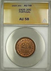 1925 Portugal 20C Twenty Centavos ANACS  RB Red-Brown (Better Coin)