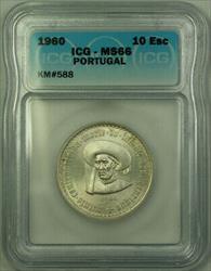 1960 Portugal Silver 10 Escudos Coin ICG  KM#588