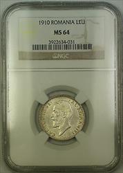 1910 Romania Silver Leu Coin NGC