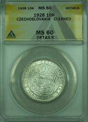 1928 10k Czechoslovakia ANACS  Details Cleaned 10 Korun Silver Coin KM#12