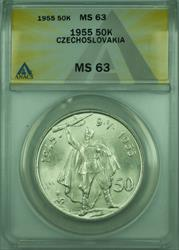 1955 50k Czechoslovakia ANACS  50 Korun Silver Coin KM#44