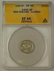 1935 New Zealand 3 Pence 50% Silver Coin 3p ANACS  Details Cleaned