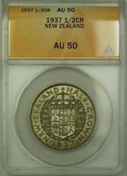1937 New Zealand 1/2 Crown Coin ANACS