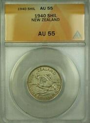 1940 New Zealand 1 Shil Coin ANACS
