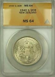 1940 New Zealand 1/2 Crown Coin ANACS