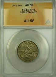 1941 New Zealand 1 Shil Coin ANACS