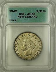 1942 New Zealand 1/2 Crown Silver Coin ICG