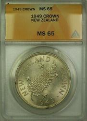 1949 New Zealand 1 Crown Coin ANACS