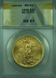 1908 St. Gaudens Double Eagle $20   ANACS No Motto
