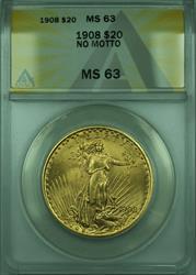 1908 St. Gaudens Double Eagle $20   ANACS No Motto