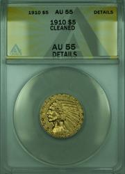 1910 Indian Half Eagle $5   ANACS Details Cleaned