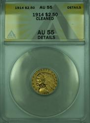 1914 Indian Quarter Eagle $2.50   ANACS Details Cleaned (B)