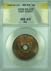 1936-KN 10C East Africa ANACS  RB King Edward VIII 10 Cents Coin KM#24a