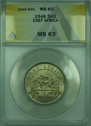 1946 1 Shil East Africa ANACS  1 Shilling Silver Coin KM#28
