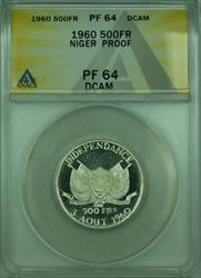 1960 500FR Niger ANACS  DCAM Commemorative 500 Francs Silver Coin KM#5