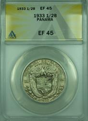 1933 1/2B Panama ANACS  1/2 Balboa Silver Coin KM#12
